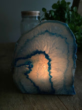 Load image into Gallery viewer, Polished blue agate candle holder