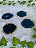 Blue agate slice drink coasters with gold electroplating 3