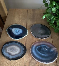 Load image into Gallery viewer, Blue polished Agate Slice coasters- set of 4