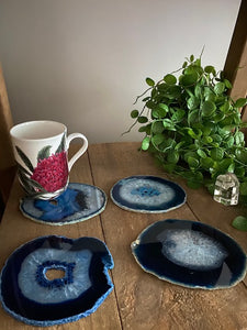 Blue polished Agate Slice coasters- set of 4