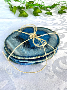 Blue polished Agate Slice drink coasters - set of 4