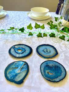 Blue polished Agate Slice drink coasters - set of 4 BCMD007