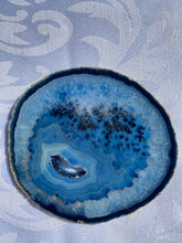 Load image into Gallery viewer, Blue polished Agate Slice drink coasters - set of 4 BCMD007