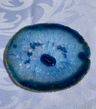 Load image into Gallery viewer, Blue polished Agate Slice drink coasters - set of 4 BCMD008