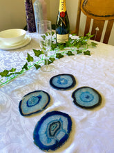 Load image into Gallery viewer, Blue polished Agate Slice drink coasters - set of 4 BCMD009
