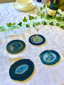 Blue polished Agate Slice drink coasters - set of 4 BCMD010
