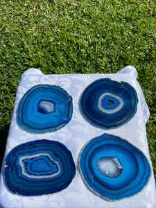 Blue polished Agate Slice drink coasters - set of 4 BCMD011