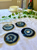 Blue polished Agate Slice drink coasters - set of 4 BCMD012