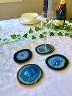 Blue polished Agate Slice drink coasters - set of 4 BCMD013