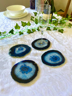 Blue polished Agate Slice drink coasters - set of 4 BCMD014