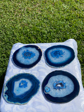 Load image into Gallery viewer, Blue polished Agate Slice drink coasters - set of 4 BCMD014