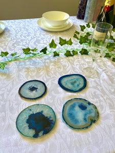Blue polished Agate Slice drink coasters - set of 4 BCMD016