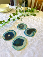 Load image into Gallery viewer, Blue polished Agate Slice drink coasters - set of 4 BCMD017