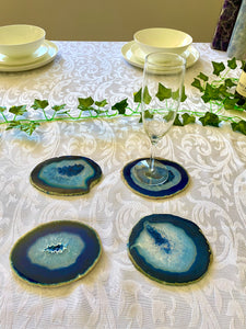 Blue polished Agate Slice drink coasters - set of 4 BCMD019
