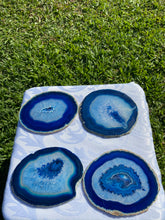 Load image into Gallery viewer, Blue polished Agate Slice drink coasters - set of 4 BCMD019