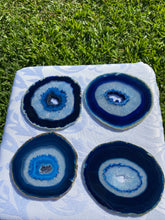 Load image into Gallery viewer, Blue polished Agate Slice drink coasters - set of 4 BCMD020
