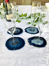 Load image into Gallery viewer, Blue polished Agate Slice drink coasters - set of 4