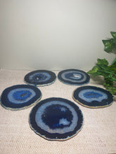 Load image into Gallery viewer, Blue polished Agate Slice drink coasters - set of 5