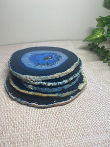 Blue polished Agate Slice drink coasters - set of 5