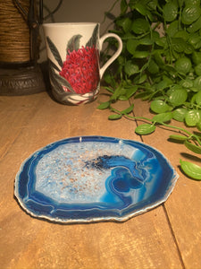 Blue polished agate slice drink coasters