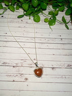 Brown Gold Stone heart shaped Stirling silver pendant - jewellery