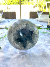 Load image into Gallery viewer, Celestite sphere - office decor or unique home display piece