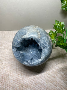 Celestite sphere with geode - office decor or unique home display piece
