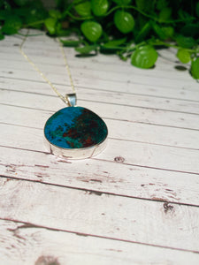 Chrysocolla pendant set in sterling silver - necklace
