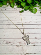 Clear Quartz angel shaped Stirling silver pendant - jewellery