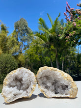 Load image into Gallery viewer, Clear Quartz crystal geode - home décor and table display 28