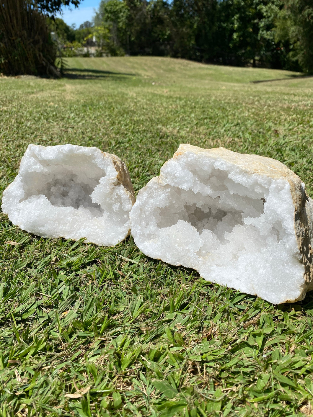 Clear Quartz crystal geode - home décor and table display 34