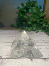 Load image into Gallery viewer, Clear Quartz pyramid, paper weight or unique display piece MD003