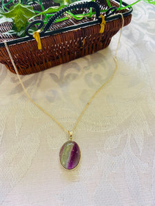 Fluorite pendant set in sterling silver - necklace