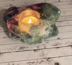 Fluorite tea light candle holder 12