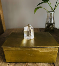 Load image into Gallery viewer, Gold Trinket box with polished clear Quartz Crystal handle