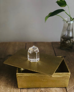 Gold Trinket box with polished clear Quartz Crystal handle