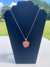 Load image into Gallery viewer, Gold stone heart shaped pendant set in sterling silver
