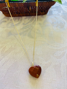 Gold stone heart shaped sterling silver pendant - necklace