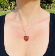 Load image into Gallery viewer, Gold stone heart shaped sterling silver pendant - necklace