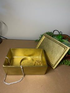 Gold trinket, jewellery or gift box with Rose Quartz handle