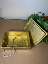 Load image into Gallery viewer, Gold trinket, jewellery or gift box with polished clear Quartz Crystal handle