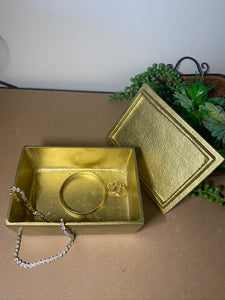 Gold trinket, jewellery or gift box with polished clear Quartz Crystal handle