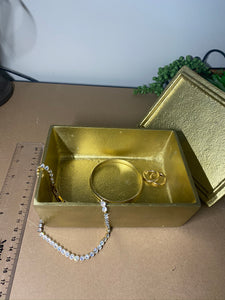 Gold trinket, jewellery or gift box with black Tourmaline handle