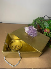 Load image into Gallery viewer, Gold trinket, jewellery or gift box with Amethyst handle