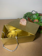 Load image into Gallery viewer, Gold trinket, jewellery or gift box with Rose Quartz handle