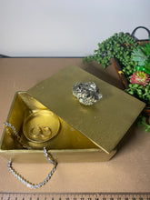 Load image into Gallery viewer, Gold trinket, jewellery or gift box with natural Pyrite handle - home décor or bathroom display