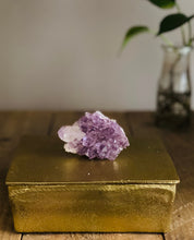 Load image into Gallery viewer, Gold trinket box with Amethyst handle