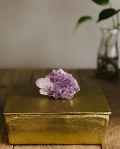 Gold trinket box with Amethyst handle