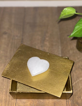 Load image into Gallery viewer, Gold trinket box with Selenite heart handle