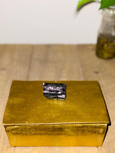 Load image into Gallery viewer, Gold trinket box with black Tourmaline handle